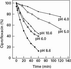 Photodegradation of ciprofloxacin at various pH values